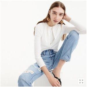 J Crew | White Cotton Jackie Cardigan Sweater L